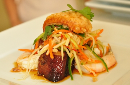 Caramelized Pork Belly with Banana Prawns, Mango and Peanut Salad and Pork Crackling!